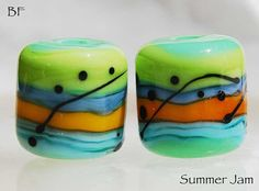 Summer+Jam+2+green+blue+and+yellow+orange+handmade+by+Beadfairy,+$9.00
