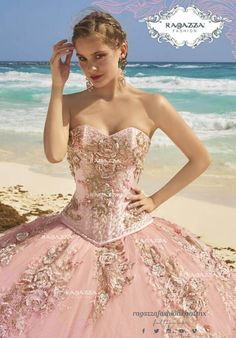 Get the beautiful Strapless Quinceañera Dress With Rose Applications By Ragazza and other amazing Ragazza quinceanera dresses on Mi Padrino. Light Pink Quinceanera Dresses, Quinceanera Party, Quinceanera Decorations, Girls Dresses, Formal Dresses, Wedding Dresses, Xv Dresses, Prom Dresses, Vestido Charro