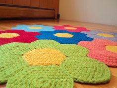 Crochet Flower Rug Nursery Rug Playroom Rug by Crochet Mat, Crochet Carpet, Crochet Amigurumi, Crochet Home, Crochet Crafts, Crochet Projects, Hand Crochet, Playroom Rug, Homemade Rugs