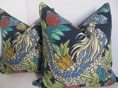 Navy+Blue+Pillow+Covers+Indigo+Blue+Pillow+Dragon+by+ClavelFashion