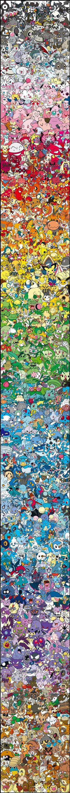 Every single Pokémon organised by colour, via:- http://www.dorkly.com/post/66045/every-single-pokemon-arranged-by-color?utm_source=facebook.com&utm_