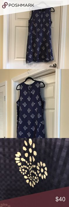 Madewell navy print shift dress Really sweet silk/cotton blend . Worn once . Madewell Dresses