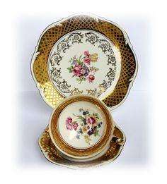 Antique Tea Cup Trio 1930's Vintage Teacup Trio Set Bareuther Bavarian China Vintage German Porcelain Gold Floral Decor Tea Cups and Saucers