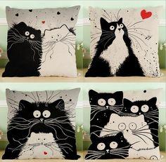 Creative Cartoon Decorative Pillowcase Cat Pillow Case Kitten Cushion Cover Linen Hot Sale 5 Color 667 #Affiliate