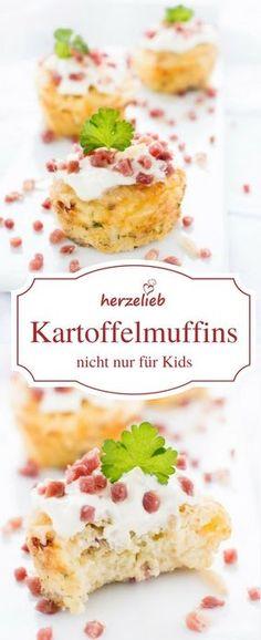Fingerfood Rezepte: Kartoffelmuffins schmecken nicht nur Kids! Rezept von herzelieb. Toll auch fürs Buffet #muffins #deutsch #muffins #foodblog Cupcake Toppings, Muffins, International Recipes, Finger Foods, Allrecipes, Cereal, Good Food, Potatoes, Cupcakes