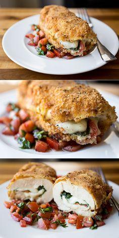 Uh... YUUUMMMY! - Crispy Stuffed Chicken Caprese with Fresh Mozzarella, Avocado, Basil and Tomatoes, with Fresh, Tomato-Basil Relish