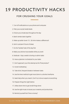 19 productivity hacks for crushing your goals Looking for effective ways to get more things done each day? Here are 19 simple productivity hacks to help you crush your goals. Effective Time Management, Time Management Strategies, Time Management Skills, Time Management Quotes, Money Management, Eat Better, Productive Things To Do, Productivity Quotes, Steps To Success