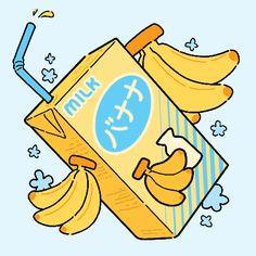 Some fruity milk~ - It& me, Mimimi! Cute Food Drawings, Cute Kawaii Drawings, Kawaii Art, Kawaii Doodles, Stickers Kawaii, Cute Stickers, Cute Food Art, Cute Art, Animes Wallpapers