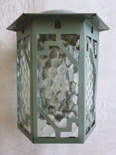 Art Deco vintage porch / hall lantern light shade - hexagonal grey-green metal frame with pebble glass panels (c.1930s) (SOLD) - www.vanishederas.com