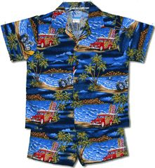 Hawaiian Yesterdays Boy's Hawaiian Cabana set created in Navy Blue, Red and Black. MauiShirts search box stock number: 1261-226