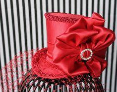 Red Mini Top Hat Wedding Top Hat Mini Hats by LittleMissHattitude, $68.00