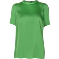 Lanvin Mock Neck Blouse ($755) ❤ liked on Polyvore featuring tops, blouses, green, keyhole top, green top, lanvin top, short sleeve tops and short sleeve blouse