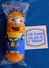 Cub Scout Twinkie * Minions Youre one in a Minion from Despicable Me - Great Table Decoration for the Blue & Gold Banquet. This site has a lot of great neckerchief slide ideas and also other great Cub Scout Ideas compliments of Akelas Council Cub Scout L Cub Scouts Wolf, Tiger Scouts, Girl Scouts, Daisy Scouts, Cub Scout Crafts, Cub Scout Activities, Scout Games, Kid Activities, Printable Crafts