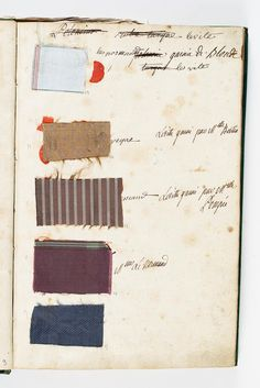 The Wardrobe Book of 1782, in the care of the Comtesse d'Ossun, survives. Each outfit is categorized and accompanied by a tiny swatch of material. There are samples for the court dresses in various shades of pink, in shadowy grey-striped tissue and in the self-striped turquoise velvet intended for Easter.