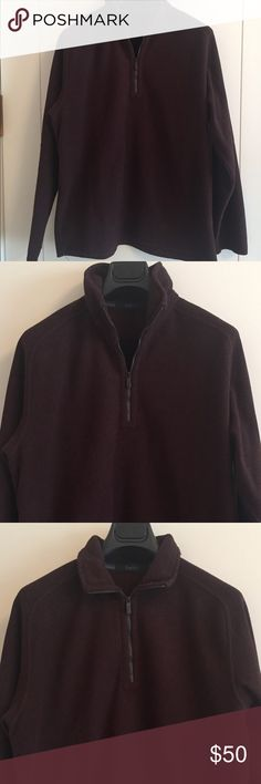 Zegna Sport Burgundy Half Zip Fleece Size Zegna S sport line fleece top - burgundy - pullover half zip with gunmetal zipper - logo zipper pull - stand up or fold down collar - set in raglan sleeves - unfinished edges at cuffs and hem - great pre owned condition with lots of life left in it - some pilling, especially at collar, from normal wear - Size M Zegna Sport Shirts Sweatshirts & Hoodies