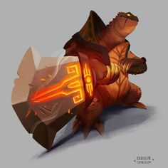 Snapping turtle tank. #art #illustration #drawing #digital #painting #ipad #turtle #sword