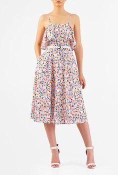Ruffled geo print crepe midi dress