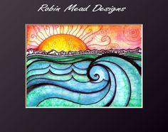 Waves sun ocean beach landscape sunset seascape landscape surf art print A New Day 5 x 7 art print