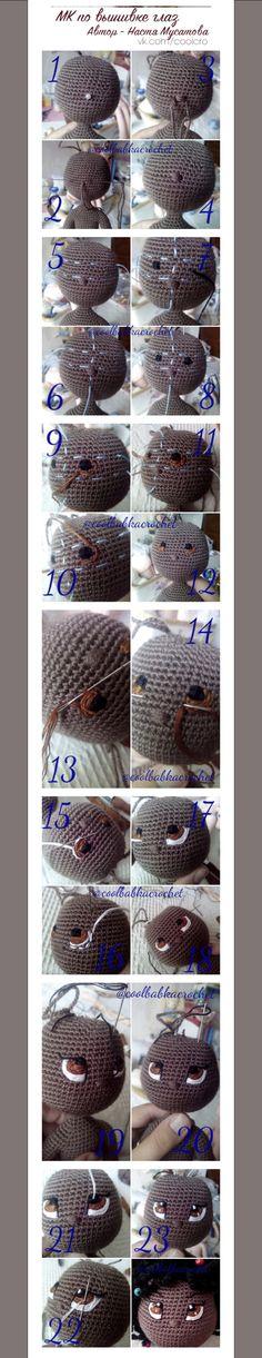 Crochet Eyes, Crochet Bear, Crochet Animals, Crochet Stitches, Doll Eyes, Doll Face, Knitted Dolls, Crochet Dolls, Amigurumi Doll