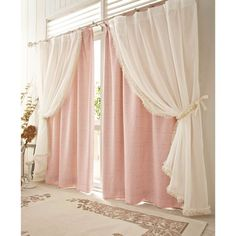 Drapes And Blinds, Pink Curtains, Home Curtains, Curtains Living, Rideaux Shabby Chic, Layered Curtains, Curtain Designs, Curtain Ideas, Suites