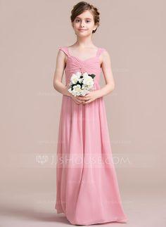 [US$ 77.99] A-Line/Princess V-neck Floor-Length Chiffon Junior Bridesmaid Dress With Ruffle Beading (009097067)