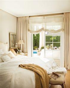 Warm gold/beige in Spanish bedroom; via El Meuble