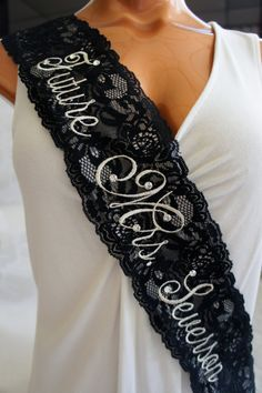 Black Lace Bridal Sash Black and Silver by CrystallizedDesign