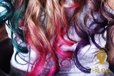 colors hair ombre  green pink fucsia purple