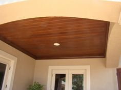 oak wood ceiling - love this look for the front porch or the screened-in porch Screened In Porch, Front Porch, Dropped Ceiling, Wood Ceilings, Home Remodeling, My House, Architecture Design, Home Improvement, New Homes