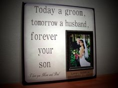 TODAY A GROOM  Wedding Frame, Parents Thank You Gift, Mother of the Groom, Father of the Groom on Etsy, $70.00