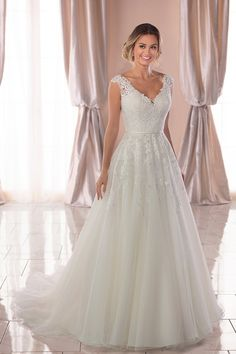 Vintage A-Line Wedding Dress with Soft Train - Stella York Wedding Dresses - # Check . - Vintage A-Line Wedding Dress with Soft Train – Stella York Wedding Dresses – # Check more at wed - Top Wedding Dresses, Wedding Dress Trends, Perfect Wedding Dress, Bridal Dresses, Dresses Dresses, Dream Wedding, Wedding Ideas, 2017 Wedding, Event Dresses