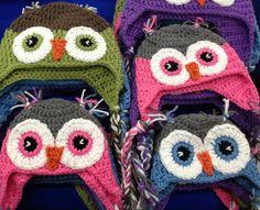 Crochet owl hats