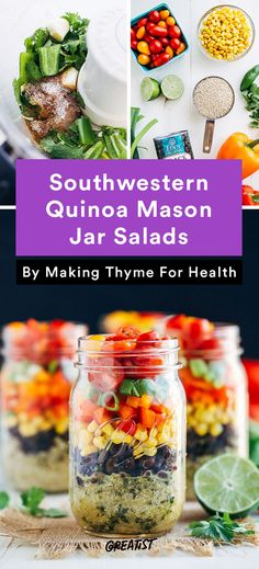 1. Southwestern Quinoa Mason Jar Salads #Greatist http://greatist.com/eat/healthy-lunch-recipes-that-make-meal-prep-easy