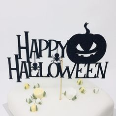 Black topper with spider, pumpkin. Scary Halloween Decorations, Halloween Cakes, Halloween Party Decor, Happy Halloween, Birthday Cake Toppers, Cupcake Toppers, Stork Baby Showers, Mermaid Cakes, Party Table Decorations