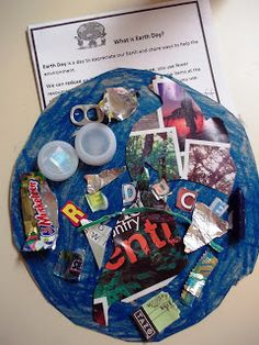 Earth Day Glyph made from recycled items
