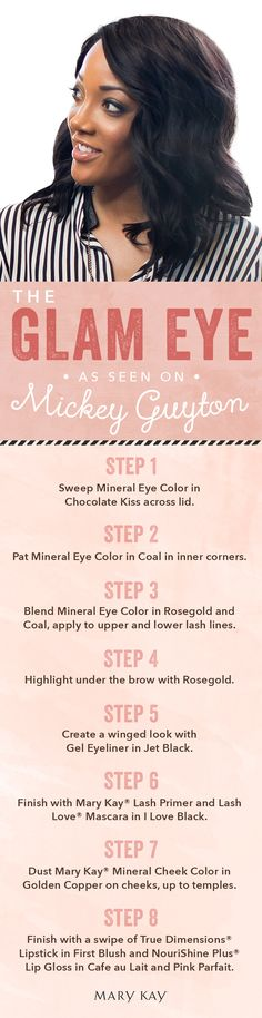 Go country glam and follow country star Mickey Guyton's makeup look! Your eyes will pop and you will be ready to put on your cowboy boots and rock out all night long. | Mary Kay  www.marykay.com/gchesterfield  Contact me or order from my website!