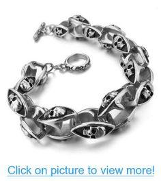 JBlue Jewelry Men's 316L Stainless Steel Bracelet Bangle Silver Skull Biker (with Gift Bag)