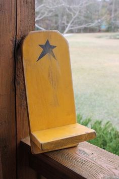 PRIMITIVE Mustard Wall Shelf with Star by AmericasFrontPorch, $18.00