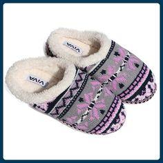 VIVA Hausschuhe Hüttenschuhe Pantoffeln Puschen warm Damen Norwegisches Muster 36 Norwegisches Muster Rosa / Grau - Hausschuhe für frauen (*Partner-Link)