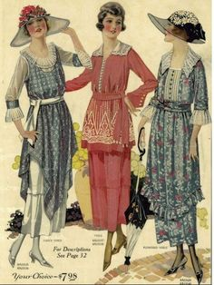 Vintage fashion 1920's #millinery #1920s #judithm Loving these hats and day dresses.  *I think this is about 1921 where the waists hadn't dropped yet*