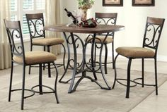 Acme Furniture - Kiele 5 Piece Counter Height Dining Table Set in Antique Black - 71155-5SET