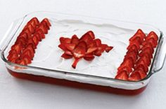 I've made this Canada Day Flag cake for years. The bottom layer is angel food cake, plus low fat cool whip, strawberry jello and strawberries....yummy!