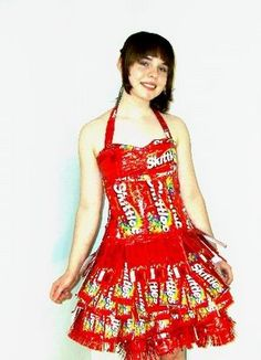 Dress made of skittles wrappers