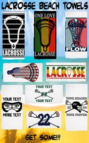 Shop for your lacrosse beach towels from YouGotThat.com today. Personalizations available!