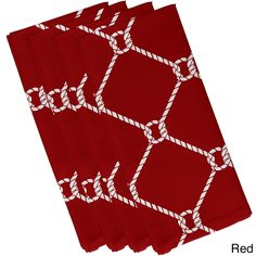 E by Design Ahoy! Geometric Print 19-inch Napkins (Set of 4) (Red)
