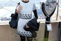 Rare London White Dress at the Empire State New York with Monochrome Grafea rucksack www.grafea.co.uk
