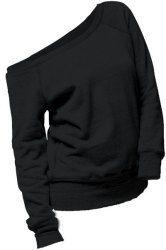 Women's Stylish Pure Color Skew Neck Long Sleeve Sweatshirt (BLACK,XL) | Sammydress.com Mobile