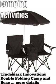 Trademark Innovations Double Folding Camp and Beach Chair with Removable Umbrella and Cooler (This is an affiliate pin) Camping Furniture, Outdoor Furniture, Outdoor Chairs, Outdoor Decor, Camping Activities, Beach Chairs, Innovation, How To Remove, Garden Chairs