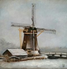 "Windmill in Baambrugge, the Netherlands, called ""'t Hoog en Groenland"". Small oil painting, 10×10 cm, by Leanne Buskermolen 2015 (also for sale)"