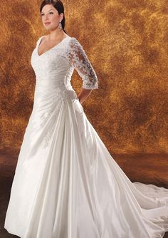 Vintage Plus Size Lace Wedding Dresses 2015 V Neck Illusion Half Sleeve Applique Embroidery Beads Ruffle Court Train Satin Bridal Gowns Sexy Homecoming Dresses Sexy Plus Size Tops From Parisimpression, $129.17  Dhgate.Com